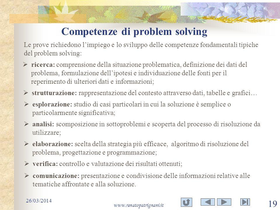 Competenze di problem solving 26/03/2014 www.renatopatrignani.it 19 Le prove richiedono limpiego e lo sviluppo delle competenze fondamentali tipiche d