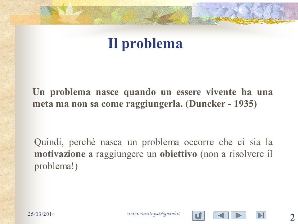 Il problema 26/03/2014 www.renatopatrignani.it 2 Un problema nasce quando un essere vivente ha una meta ma non sa come raggiungerla. (Duncker - 1935)