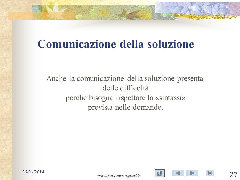 Comunicazione della soluzione 26/03/2014 www.renatopatrignani.it 27 Anche la comunicazione della soluzione presenta delle difficoltà perché bisogna ri