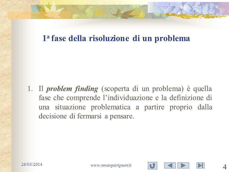 1 a fase della risoluzione di un problema 26/03/2014 www.renatopatrignani.it 4 1.Il problem finding (scoperta di un problema) è quella fase che compre