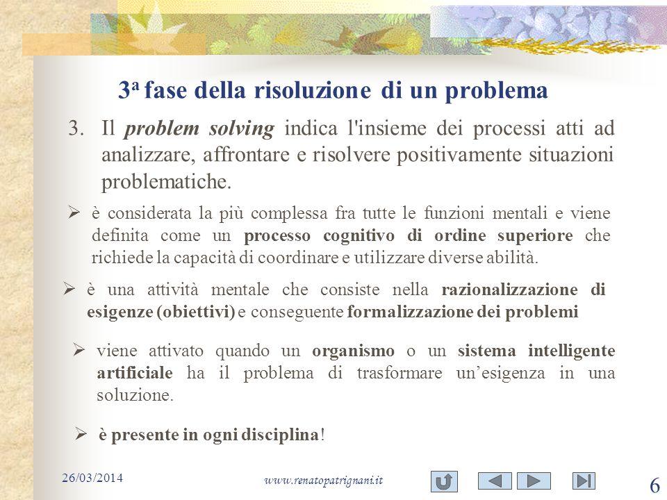 3 a fase della risoluzione di un problema 26/03/2014 www.renatopatrignani.it 6 3.Il problem solving indica l'insieme dei processi atti ad analizzare,