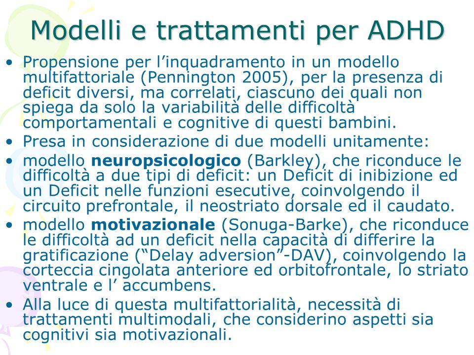 Modelli e trattamenti per ADHD Propensione per linquadramento in un modello multifattoriale (Pennington 2005), per la presenza di deficit diversi, ma correlati, ciascuno dei quali non spiega da solo la variabilità delle difficoltà comportamentali e cognitive di questi bambini.