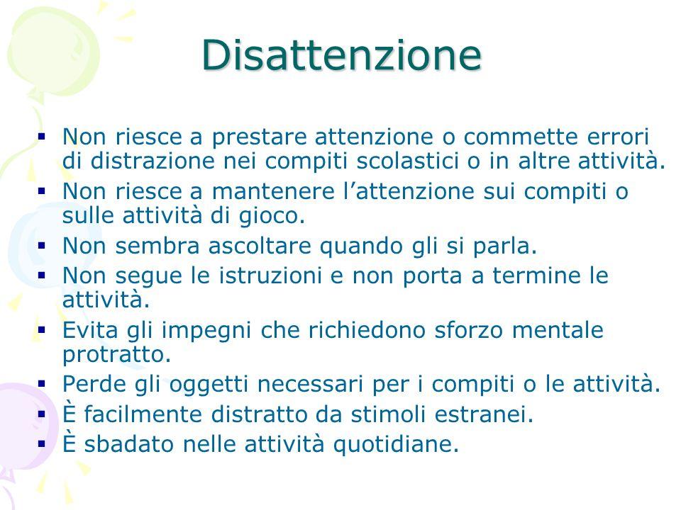 Disattenzione Non riesce a prestare attenzione o commette errori di distrazione nei compiti scolastici o in altre attività.