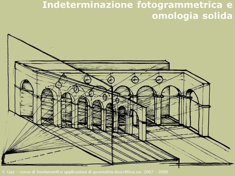F. Gay – corso di fondamenti e applicazioni di geometria descrittiva aa. 2007 - 2008 Indeterminazione fotogrammetrica e omologia solida