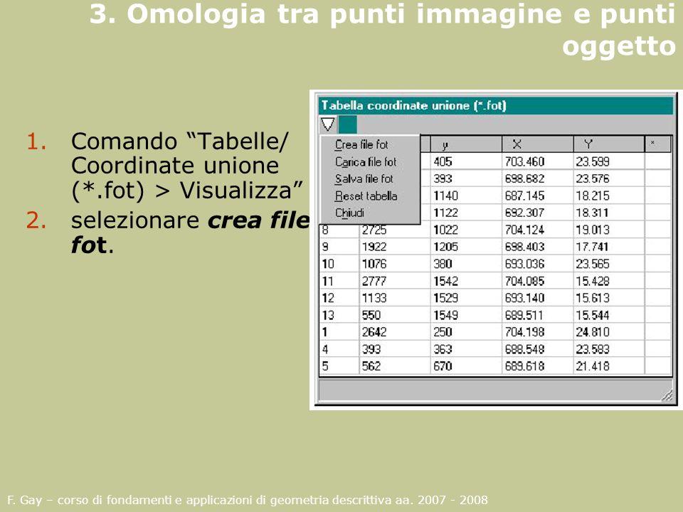 F. Gay – corso di fondamenti e applicazioni di geometria descrittiva aa. 2007 - 2008 3. Omologia tra punti immagine e punti oggetto 1.Comando Tabelle/