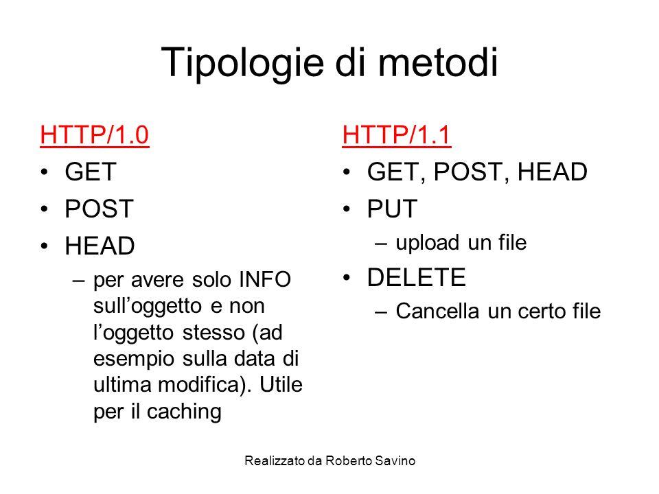 Realizzato da Roberto Savino Tipologie di metodi HTTP/1.0 GET POST HEAD –per avere solo INFO sulloggetto e non loggetto stesso (ad esempio sulla data di ultima modifica).