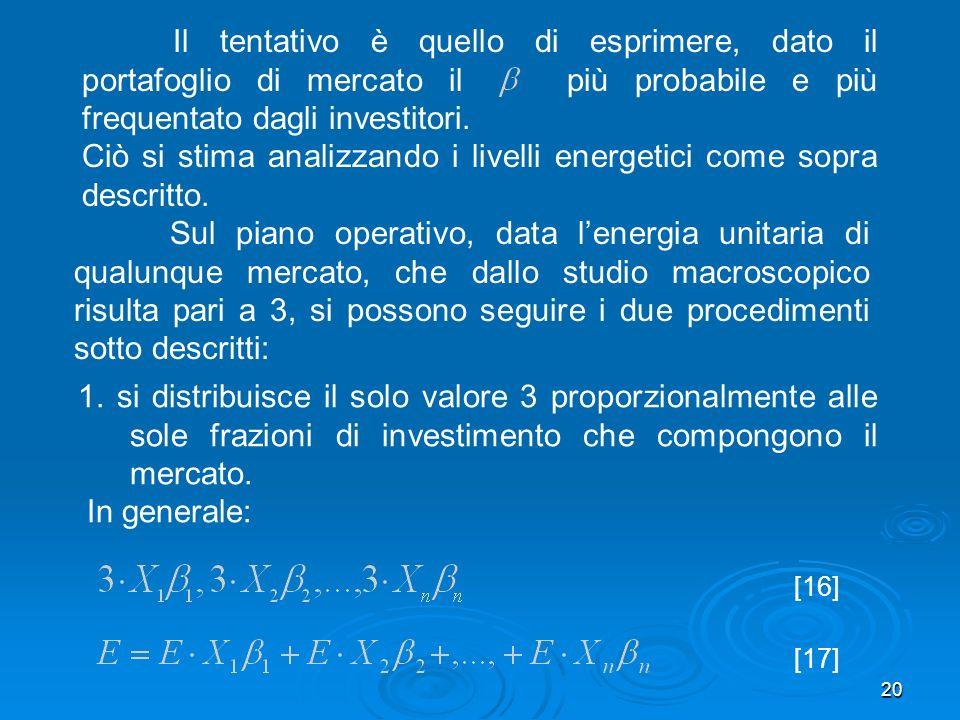 20 Il tentativo è quello di esprimere, dato il portafoglio di mercato il più probabile e più frequentato dagli investitori.