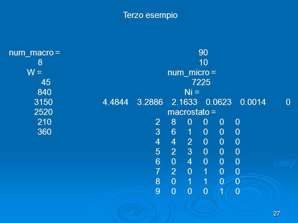 27 num_macro = 8 W = 45 840 3150 2520 210 360 90 10 num_micro = 7225 Ni = 4.4844 3.2886 2.1633 0.0623 0.0014 0 macrostato = 2 8 0 0 0 0 3 6 1 0 0 0 4 4 2 0 0 0 5 2 3 0 0 0 6 0 4 0 0 0 7 2 0 1 0 0 8 0 1 1 0 0 9 0 0 0 1 0 Terzo esempio