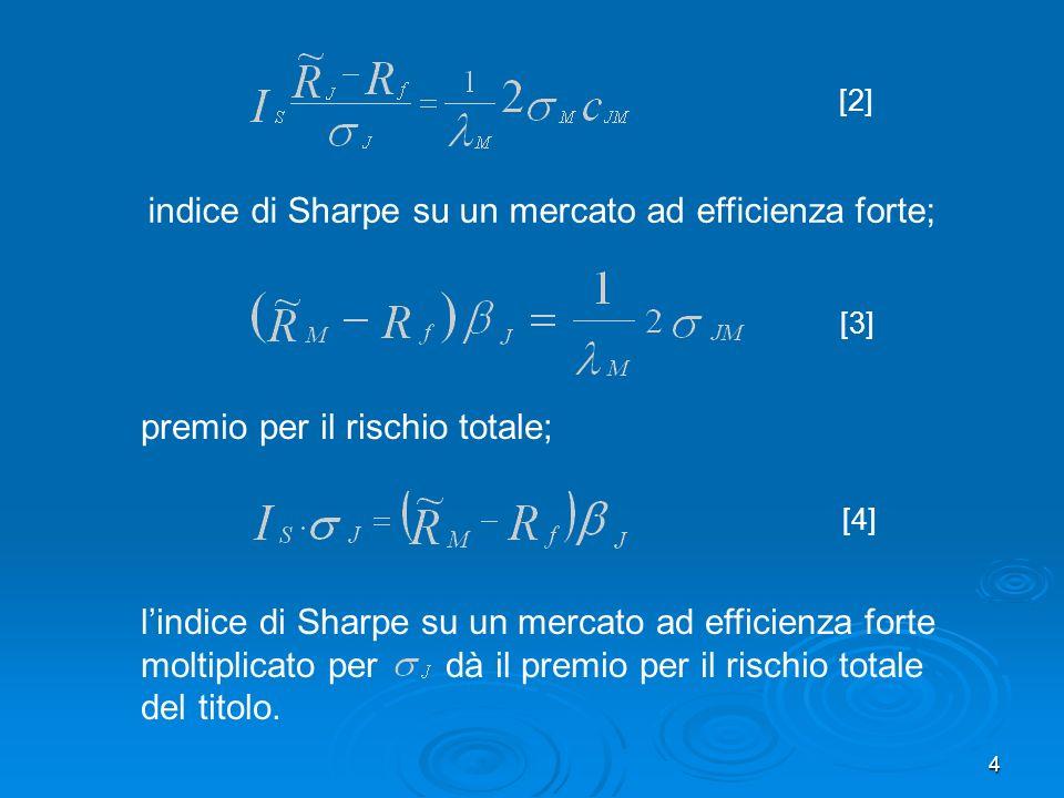 4 indice di Sharpe su un mercato ad efficienza forte; [2] [3] premio per il rischio totale; lindice di Sharpe su un mercato ad efficienza forte moltiplicato per dà il premio per il rischio totale del titolo.