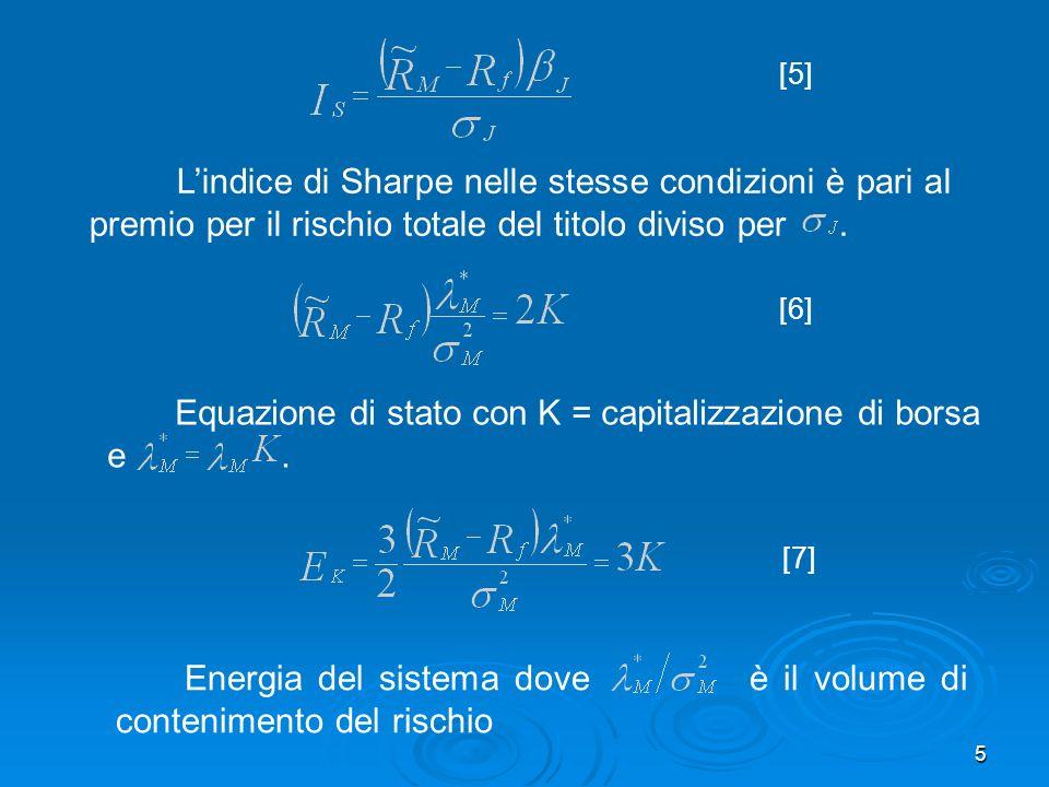 5 [5] Lindice di Sharpe nelle stesse condizioni è pari al premio per il rischio totale del titolo diviso per.