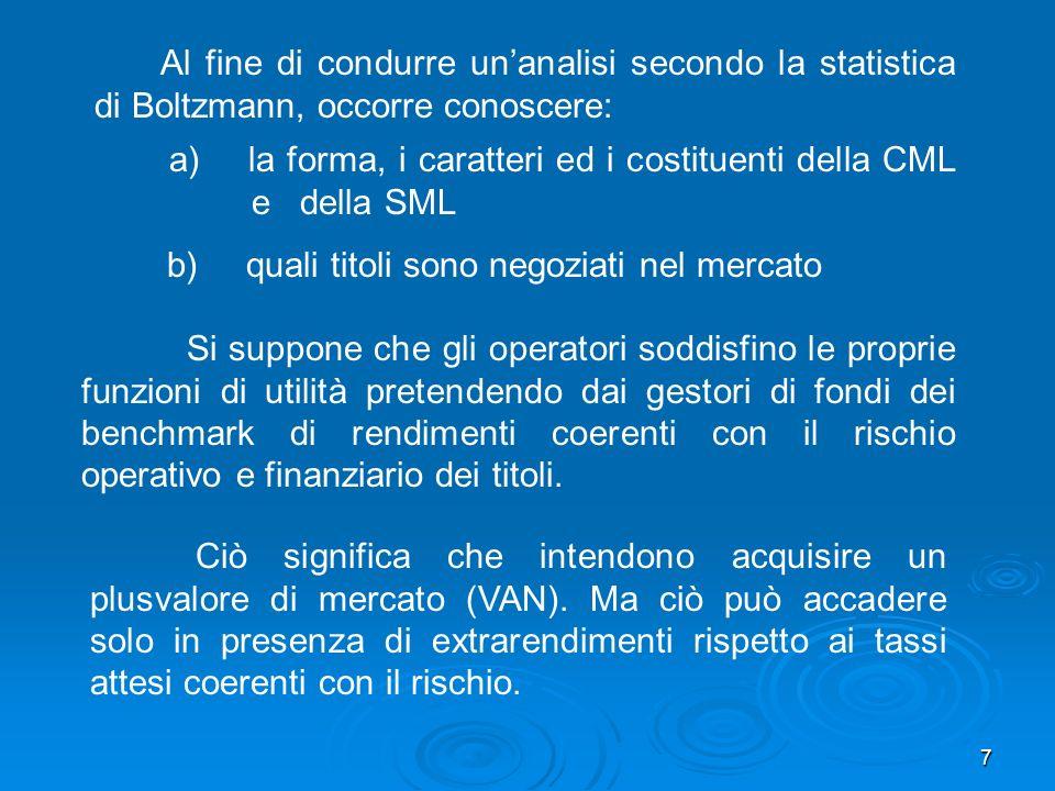 7 Al fine di condurre unanalisi secondo la statistica di Boltzmann, occorre conoscere: Ciò significa che intendono acquisire un plusvalore di mercato (VAN).