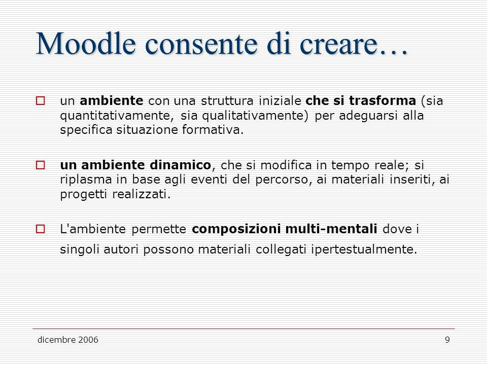 dicembre 20069 Moodle consente di creare… un ambiente con una struttura iniziale che si trasforma (sia quantitativamente, sia qualitativamente) per adeguarsi alla specifica situazione formativa.