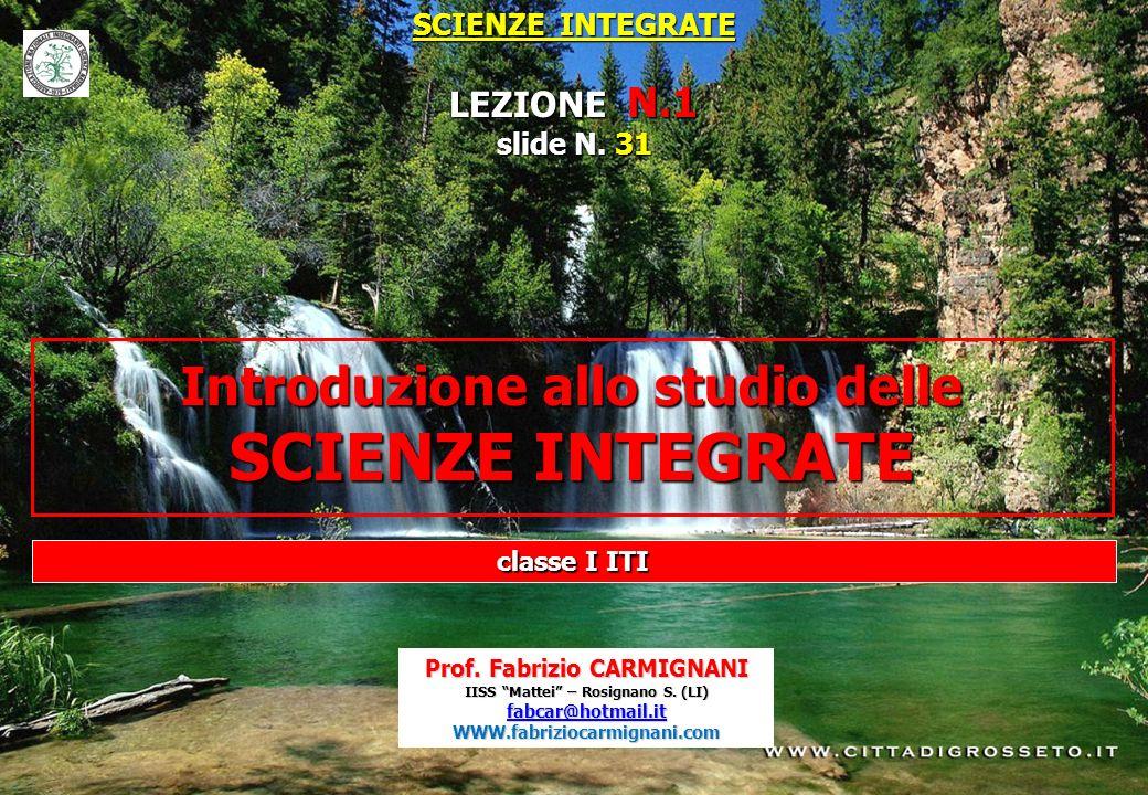 SCIENZE INTEGRATE LEZIONE N.1 slide N. 31 Introduzione allo studio delle SCIENZE INTEGRATE Prof. Fabrizio CARMIGNANI IISS Mattei – Rosignano S. (LI) f