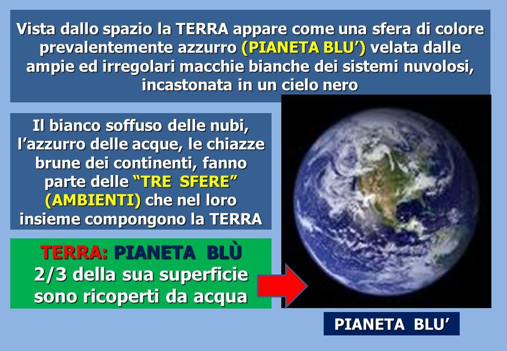 Vista dallo spazio la TERRA appare come una sfera di colore prevalentemente azzurro (PIANETA BLU) velata dalle ampie ed irregolari macchie bianche dei