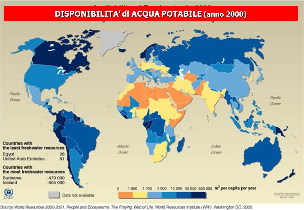 DISPONIBILITA di ACQUA POTABILE (anno 2000)