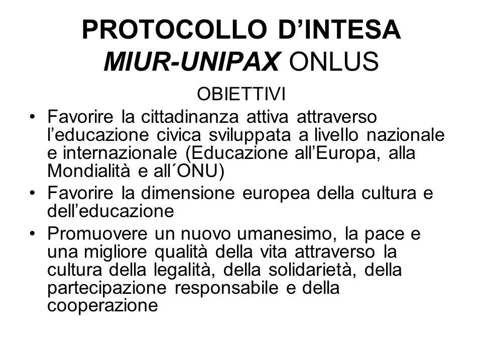 PROTOCOLLO DINTESA MIUR-UNIPAX ONLUS OBIETTIVI Favorire la cittadinanza attiva attraverso leducazione civica sviluppata a livello nazionale e internaz