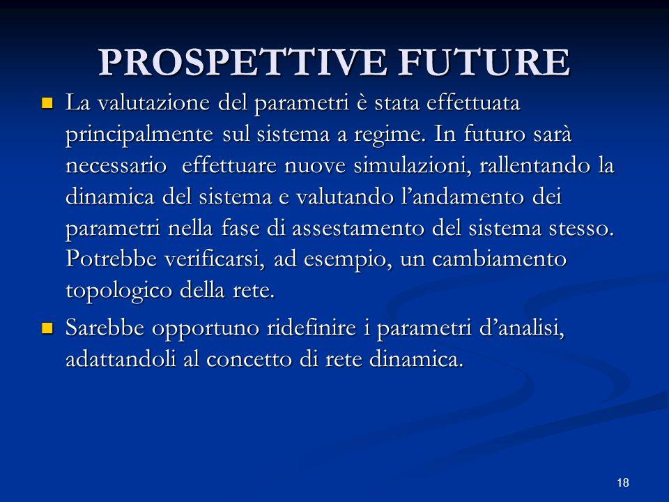 18 PROSPETTIVE FUTURE La valutazione del parametri è stata effettuata principalmente sul sistema a regime.