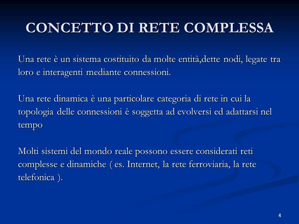 4 CONCETTO DI RETE COMPLESSA Una rete è un sistema costituito da molte entità,dette nodi, legate tra loro e interagenti mediante connessioni.