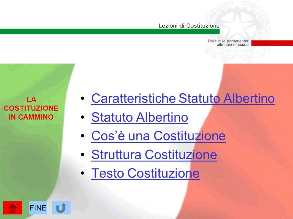 Caratteristiche Statuto Albertino Statuto Albertino Cosè una Costituzione Struttura Costituzione Testo Costituzione LA COSTITUZIONE IN CAMMINO FINE