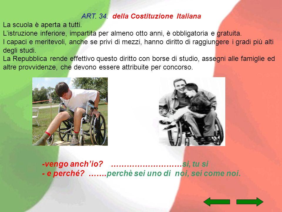 ART. 34. della Costituzione Italiana La scuola è aperta a tutti. Listruzione inferiore, impartita per almeno otto anni, è obbligatoria e gratuita. I c