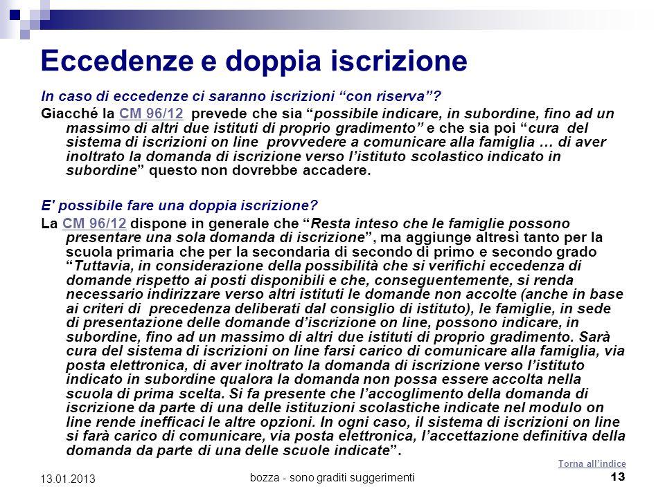 bozza - sono graditi suggerimenti 13 13.01.2013 Eccedenze e doppia iscrizione In caso di eccedenze ci saranno iscrizioni con riserva.