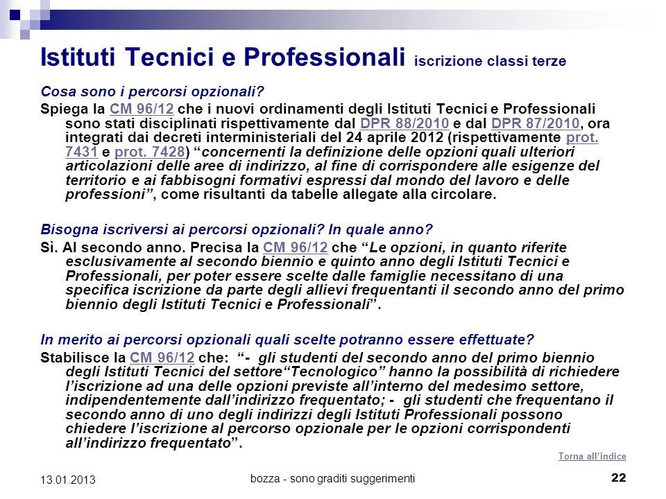 bozza - sono graditi suggerimenti 22 13.01.2013 Istituti Tecnici e Professionali iscrizione classi terze Cosa sono i percorsi opzionali.