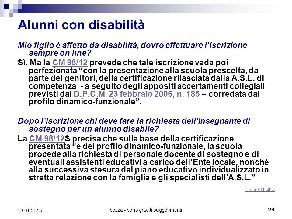 bozza - sono graditi suggerimenti 24 13.01.2013 Alunni con disabilità Mio figlio è affetto da disabilità, dovrò effettuare liscrizione sempre on line.