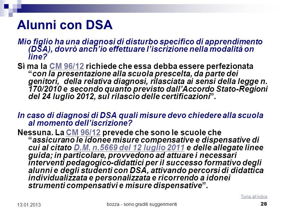 bozza - sono graditi suggerimenti 28 13.01.2013 Alunni con DSA Mio figlio ha una diagnosi di disturbo specifico di apprendimento (DSA), dovrò anchio effettuare liscrizione nella modalità on line.