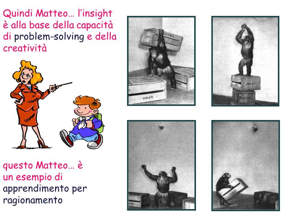 Quindi Matteo… linsight è alla base della capacità di problem-solving e della creatività questo Matteo… è un esempio di apprendimento per ragionamento
