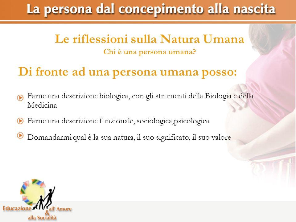 Le riflessioni sulla Natura Umana Chi è una persona umana? Farne una descrizione biologica, con gli strumenti della Biologia e della Medicina Farne un