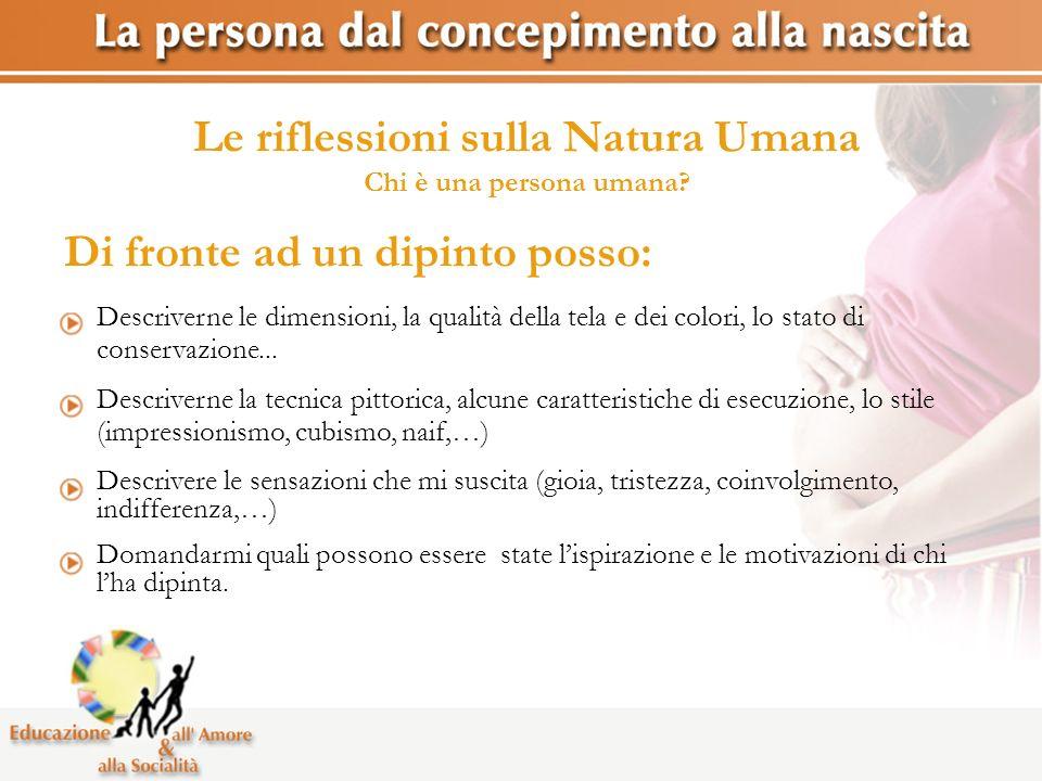 Le riflessioni sulla Natura Umana Chi è una persona umana? Descriverne le dimensioni, la qualità della tela e dei colori, lo stato di conservazione...