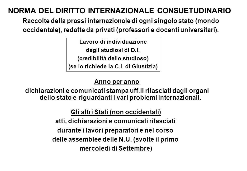 NORMA DEL DIRITTO INTERNAZIONALE CONSUETUDINARIO Raccolte della prassi internazionale di ogni singolo stato (mondo occidentale), redatte da privati (p