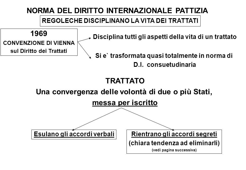 NORMA DEL DIRITTO INTERNAZIONALE PATTIZIA REGOLECHE DISCIPLINANO LA VITA DEI TRATTATI 1969 CONVENZIONE DI VIENNA sul Diritto dei Trattati Disciplina t