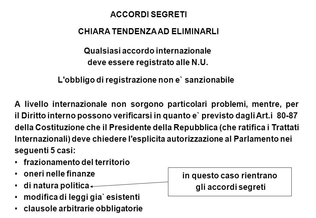 ACCORDI SEGRETI CHIARA TENDENZA AD ELIMINARLI Qualsiasi accordo internazionale deve essere registrato alle N.U. L'obbligo di registrazione non e` sanz