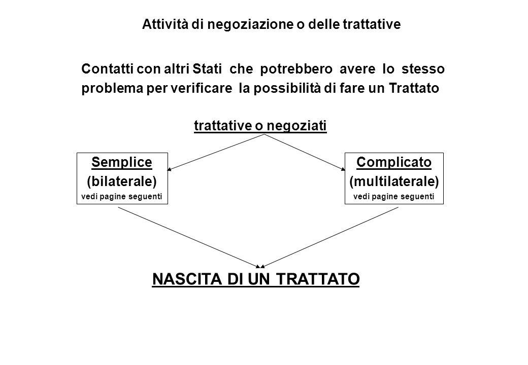 NASCITA DI UN TRATTATO Attività di negoziazione o delle trattative Contatti con altri Stati che potrebbero avere lo stesso problema per verificare la