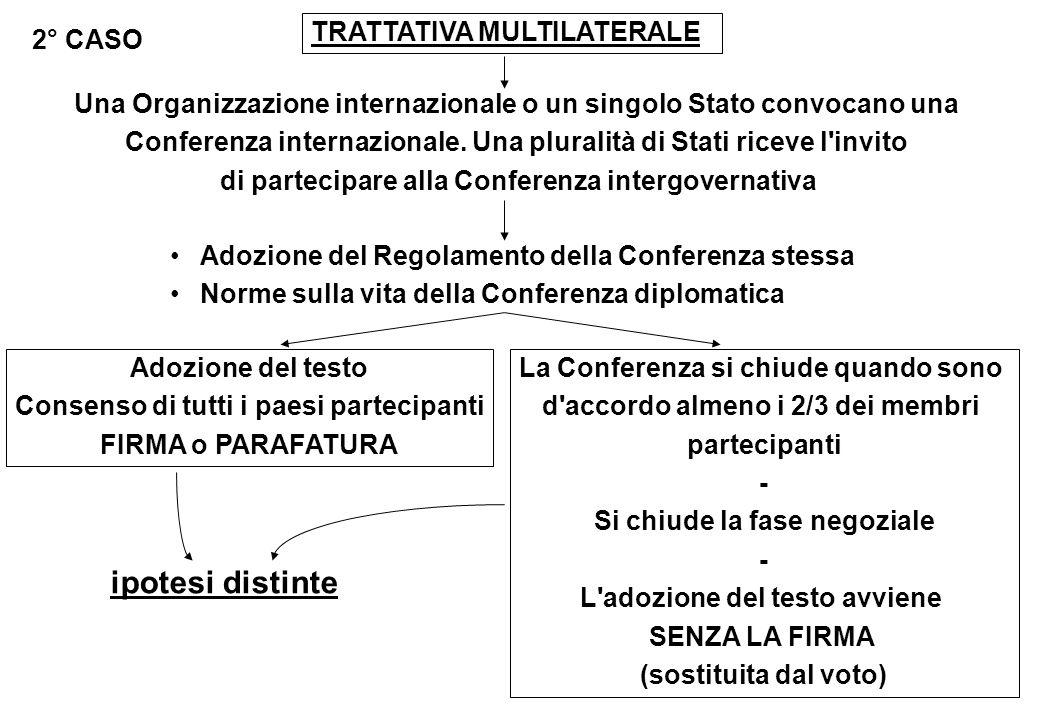 TRATTATIVA MULTILATERALE 2° CASO Una Organizzazione internazionale o un singolo Stato convocano una Conferenza internazionale. Una pluralità di Stati
