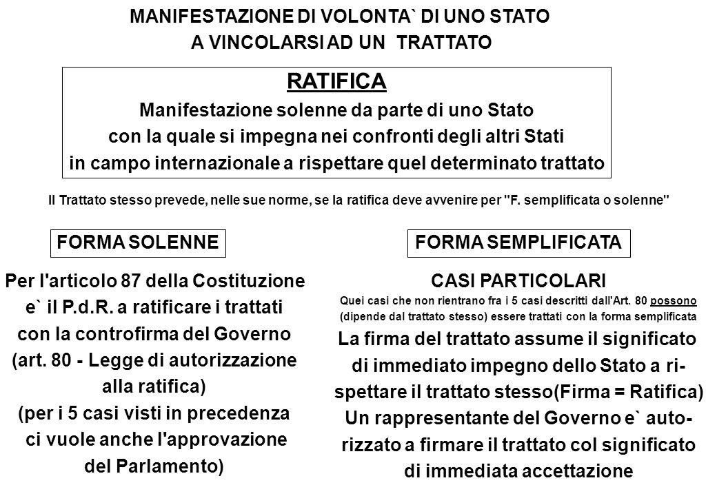 MANIFESTAZIONE DI VOLONTA` DI UNO STATO A VINCOLARSI AD UN TRATTATO FORMA SOLENNEFORMA SEMPLIFICATA Per l'articolo 87 della Costituzione e` il P.d.R.