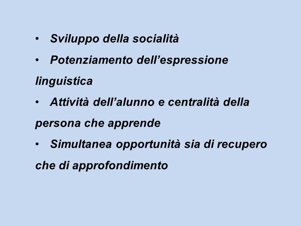 Sviluppo della socialità Potenziamento dellespressione linguistica Attività dellalunno e centralità della persona che apprende Simultanea opportunità