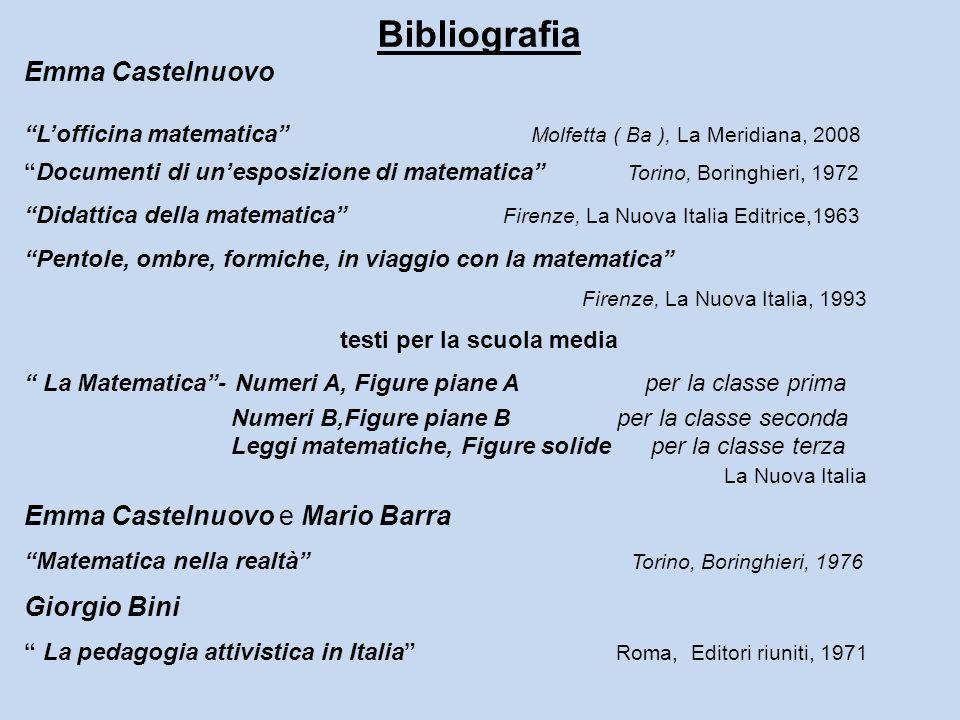 Bibliografia Emma Castelnuovo Lofficina matematica Molfetta ( Ba ), La Meridiana, 2008 Documenti di unesposizione di matematica Torino, Boringhieri, 1