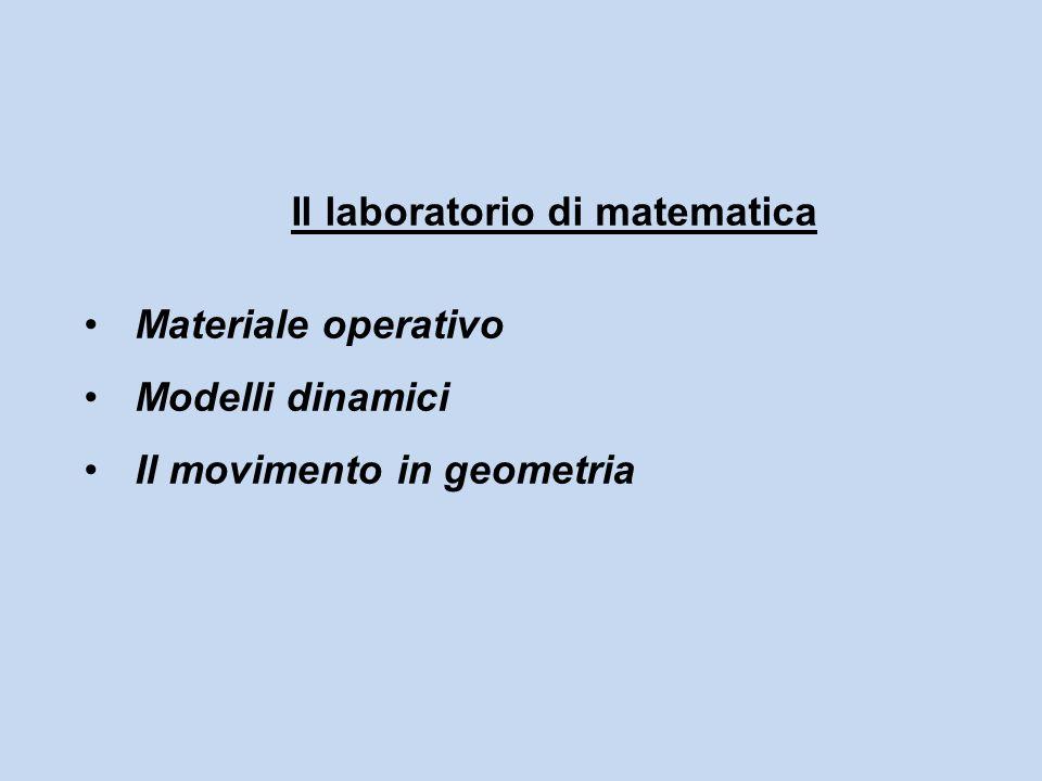 Il laboratorio di matematica Materiale operativo Modelli dinamici Il movimento in geometria