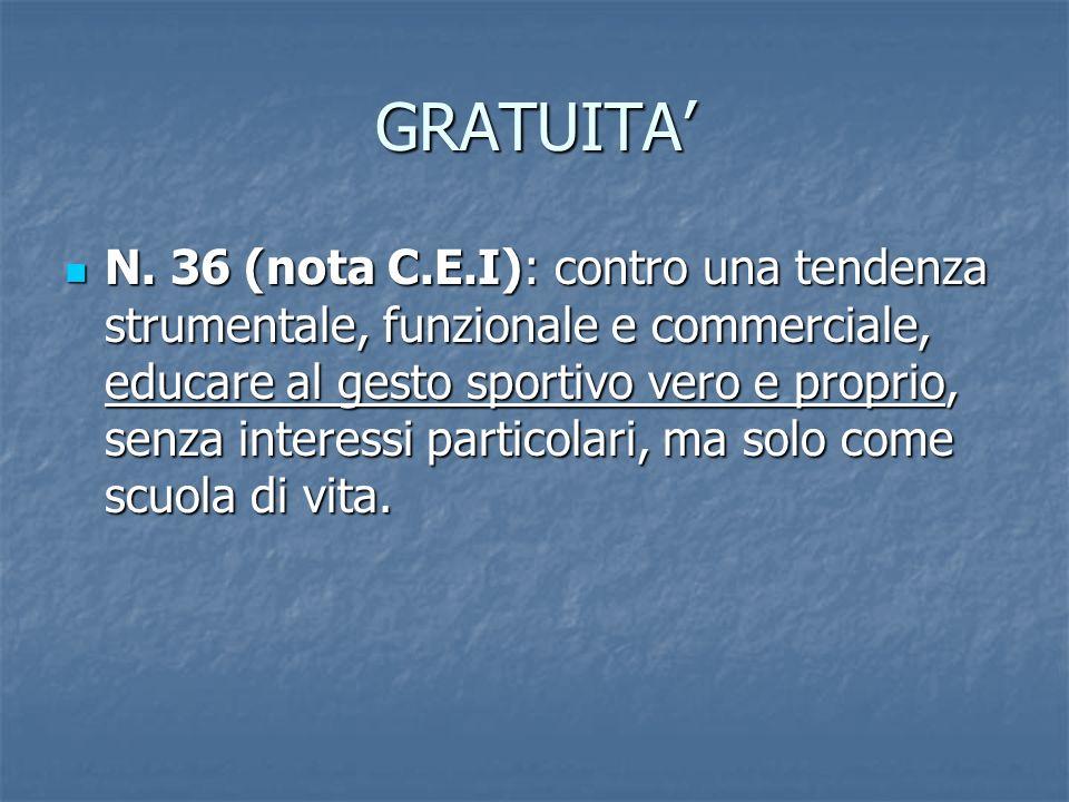 GRATUITA N. 36 (nota C.E.I): contro una tendenza strumentale, funzionale e commerciale, educare al gesto sportivo vero e proprio, senza interessi part
