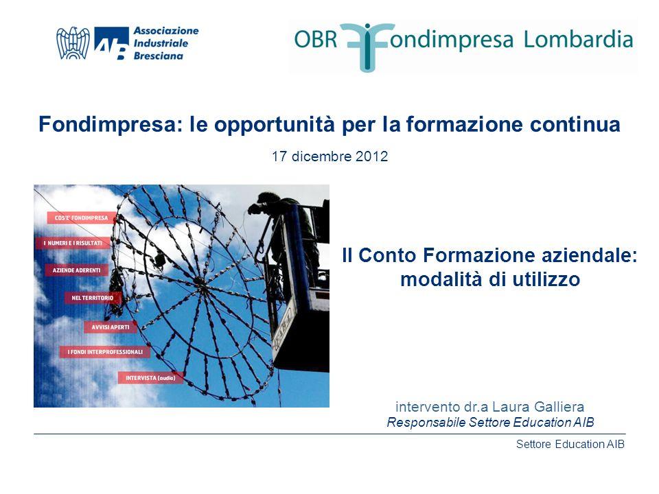 Settore Education AIB www.aib.bs.it intervento dr.a Laura Galliera Fondimpresa: le opportunità per la formazione continua 17 dicembre 2012 Il Conto Fo
