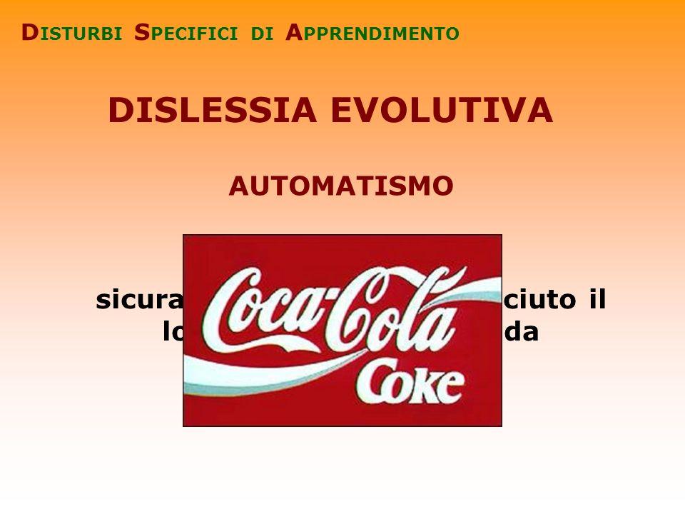 sicuramente avrete riconosciuto il logo di una nota bevanda DISLESSIA EVOLUTIVA D ISTURBI S PECIFICI DI A PPRENDIMENTO AUTOMATISMO