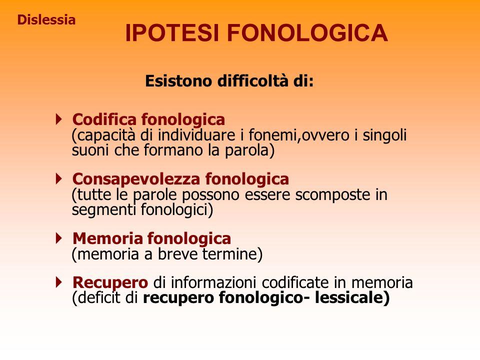 Esistono difficoltà di: Codifica fonologica (capacità di individuare i fonemi,ovvero i singoli suoni che formano la parola) Consapevolezza fonologica
