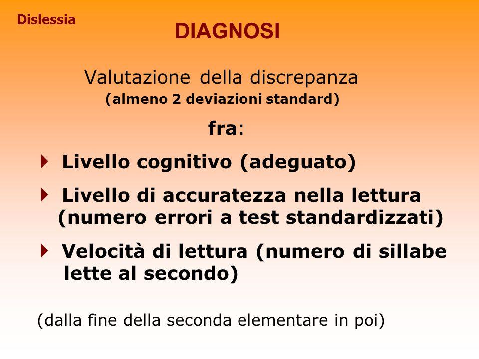 DIAGNOSI Valutazione della discrepanza (almeno 2 deviazioni standard) fra: Livello cognitivo (adeguato) Livello di accuratezza nella lettura (numero e