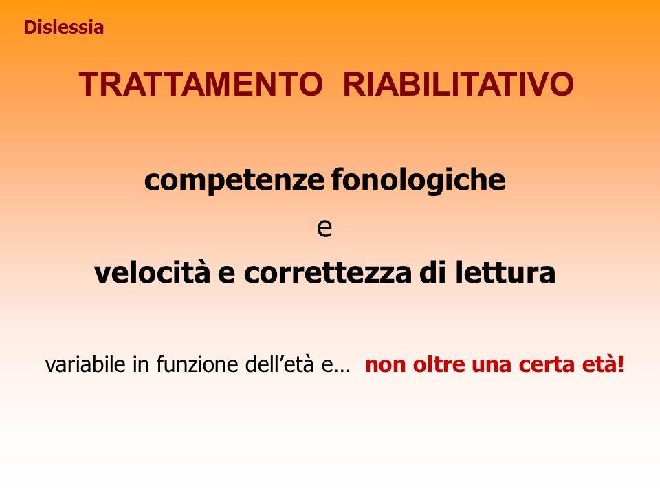 TRATTAMENTO RIABILITATIVO variabile in funzione delletà e… non oltre una certa età! competenze fonologiche e velocità e correttezza di lettura