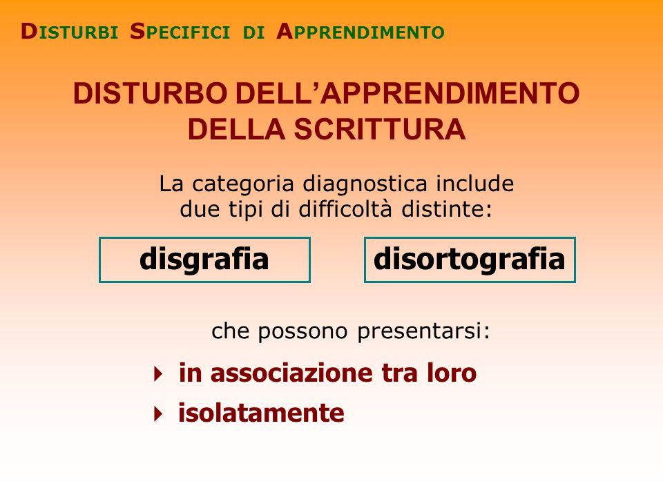 La categoria diagnostica include due tipi di difficoltà distinte: DISTURBO DELLAPPRENDIMENTO DELLA SCRITTURA in associazione tra loro isolatamente dis