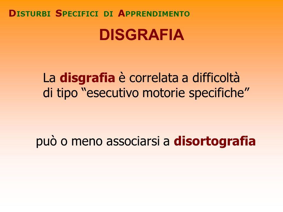 DISGRAFIA D ISTURBI S PECIFICI DI A PPRENDIMENTO La disgrafia è correlata a difficoltà di tipo esecutivo motorie specifiche può o meno associarsi a di