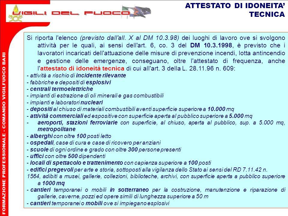 11 ATTESTATO DI IDONEITA TECNICA Si riporta l elenco (previsto dall all.