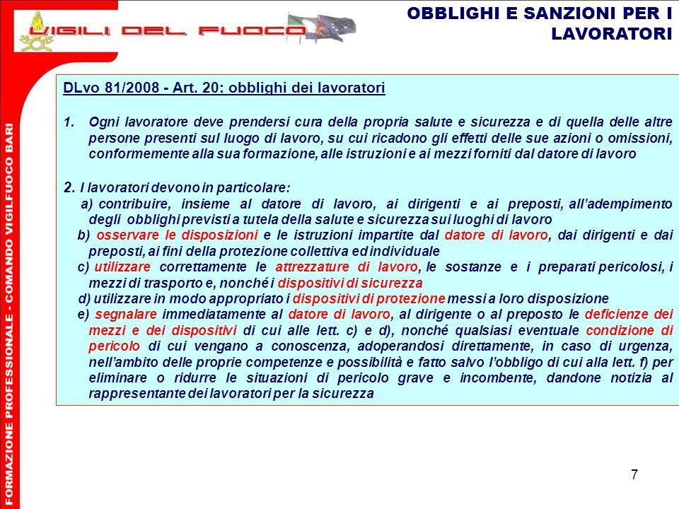 7 OBBLIGHI E SANZIONI PER I LAVORATORI DLvo 81/2008 - Art.